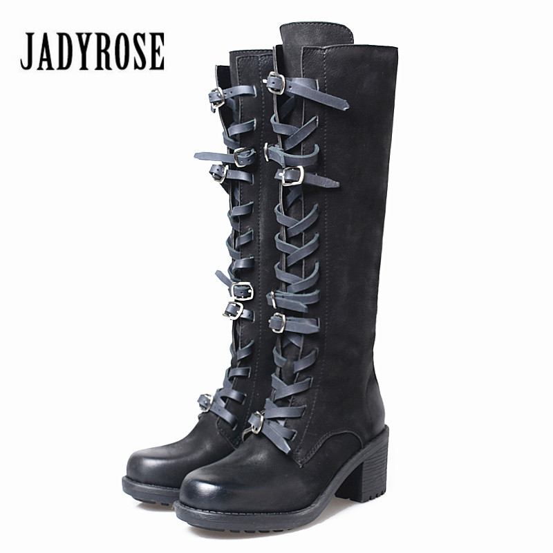 Jady Rose 2018 New Fashion Women Knee High Boots Chunky High Heel Martin Boot Autumn Winter Long Boots Straps Rubber Shoes Woman jady rose vintage black women knee high boots lace up side zip platform high boots thick heel flat martin boot for autumn winter