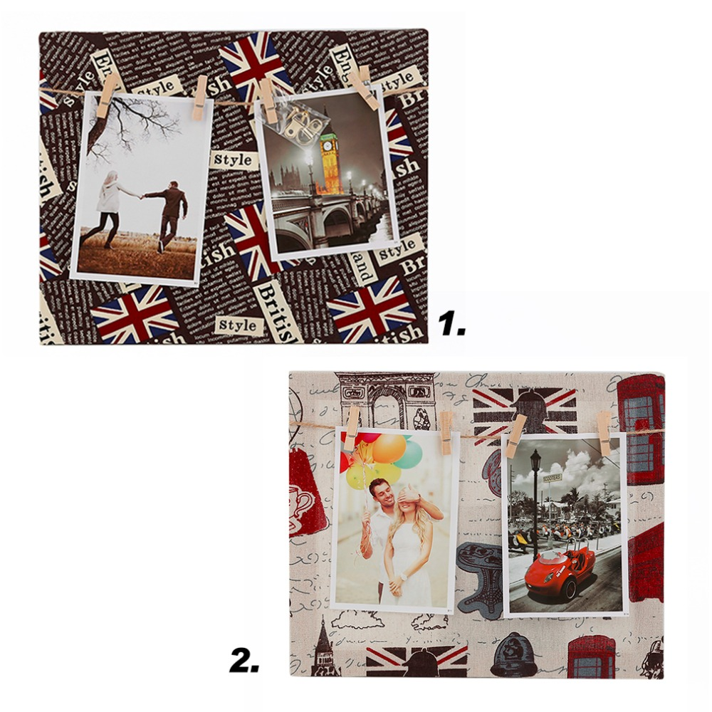 Fabric Cloth Wood Original Rectangle Photo Frame Wall Hanging Desk Decoration Board Clip Photo Frame Europe US Style