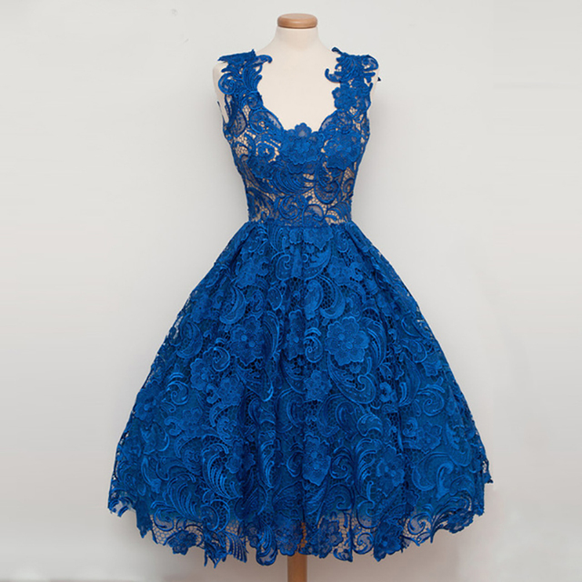 Lace Cocktail Dresses Charming Stylish Knee Length Summer 2017 Party A-line Sleeveless Blue Robe De Cocktail