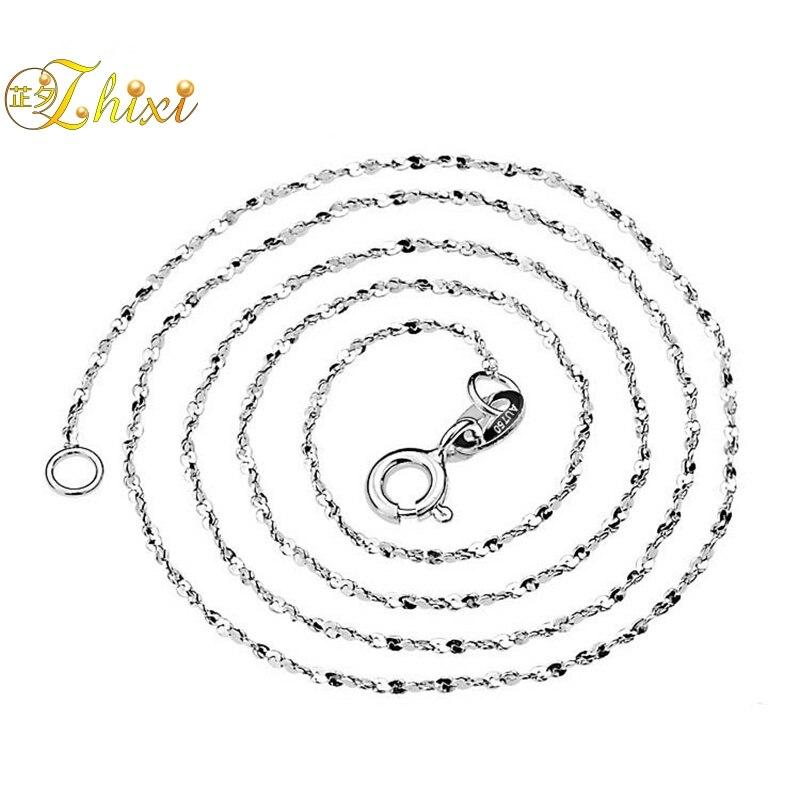 ZHIXI 18 K bijoux en or AU750 bijoux fins collier en or 18 K pour femmes 40/45 cm cadeau de fête de mariage à la mode pour amour ZXX311