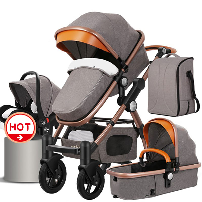 2018 4 In 1 Gold Baby Stroller Can Sit With  High Landscape Baby Pram   For Winter And Summer Infant Children