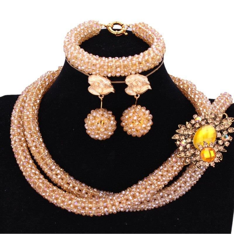 4 UJewelry Or Champagne Dubaï ensembles de bijoux 2 Couches Bijoux De Mariage Indien ensemble de collier pour les Femmes En Cristal bijoux de mariée Ensembles