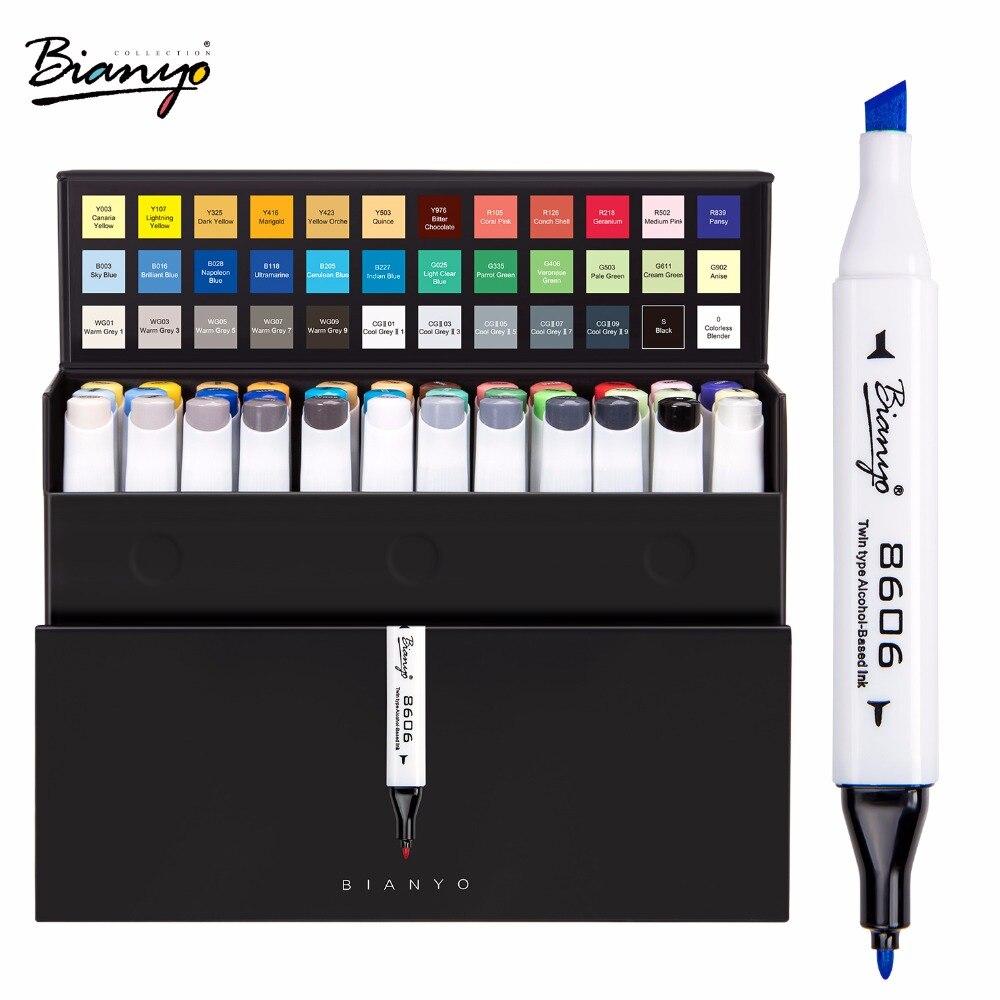 Bianyo 36 Couleur Art Marqueurs Double Tête À Base D'alcool Sketch Marker pour Artiste Designer Dessin Comique Marqueur Art Fournisseur