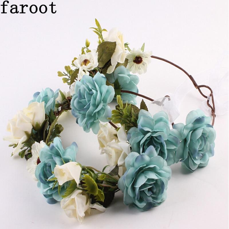 Womens Kids Family Floral Fall BOHO Headband Flower Festival Wedding Girl Beach Hair Wreath Garland Blue White Romantic Garland
