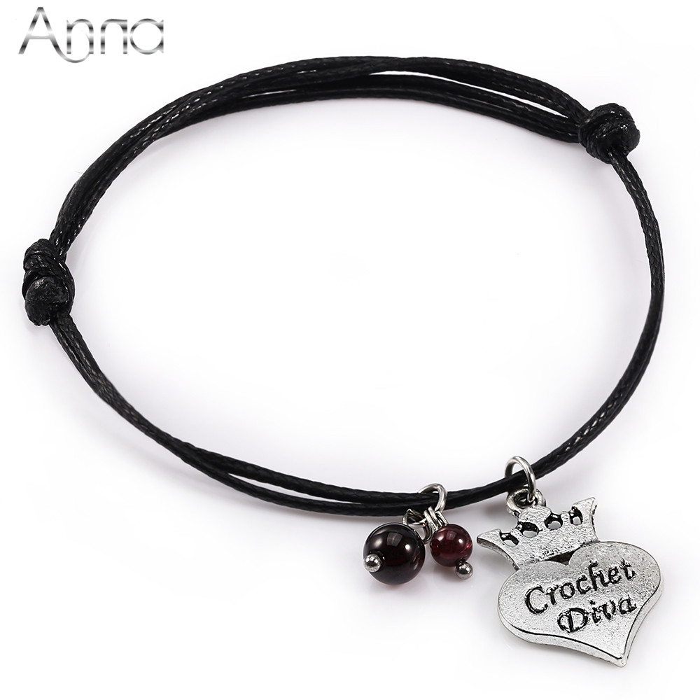 A&n Birthstone Series Natural Garnet Bead Bracelet Two Layers Of Weaving  Braided Heart Crown Charm Bracelets January Birth Stone