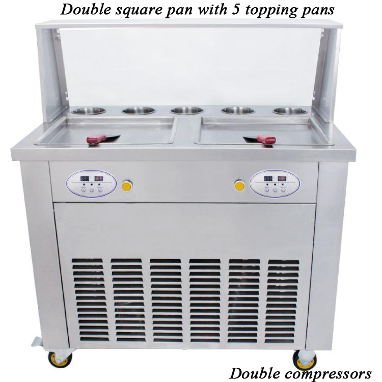 Square 2+5 Factory supply double pan fried ice cream machineSquare 2+5 Factory supply double pan fried ice cream machine