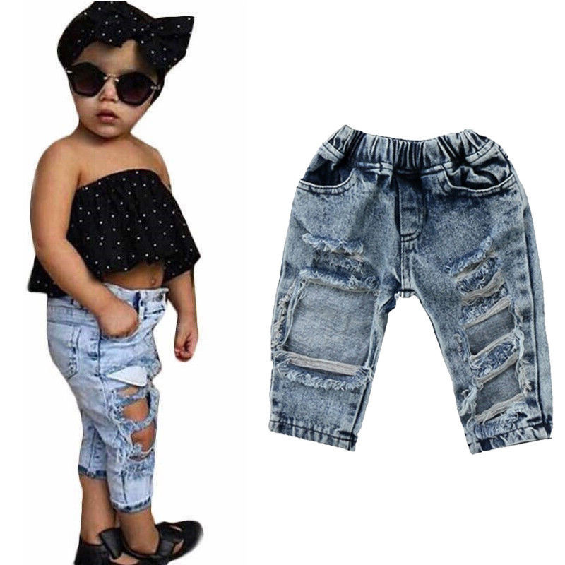 все цены на Fashion New Toddler Infant Kids Child Girls Holes Denim Pants Stretch Elastic Trousers Jeans Ripped Hole Clothes Baby Girl 1-5T