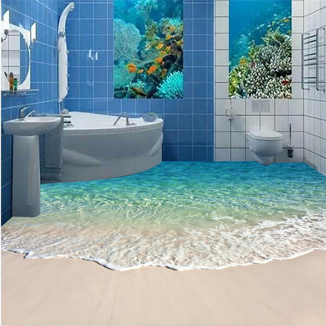 Modern Floor Painting Hd Blue Sea Reef Scenery Waterproof Bathroom Kitchen Balcony Pvc Wall Paper Self Sticker Mural In Wallpapers From