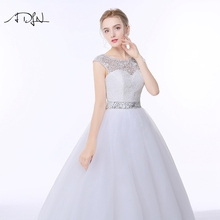 ADLN Lace A-line Tulle Scoop Low Back Wedding Dress