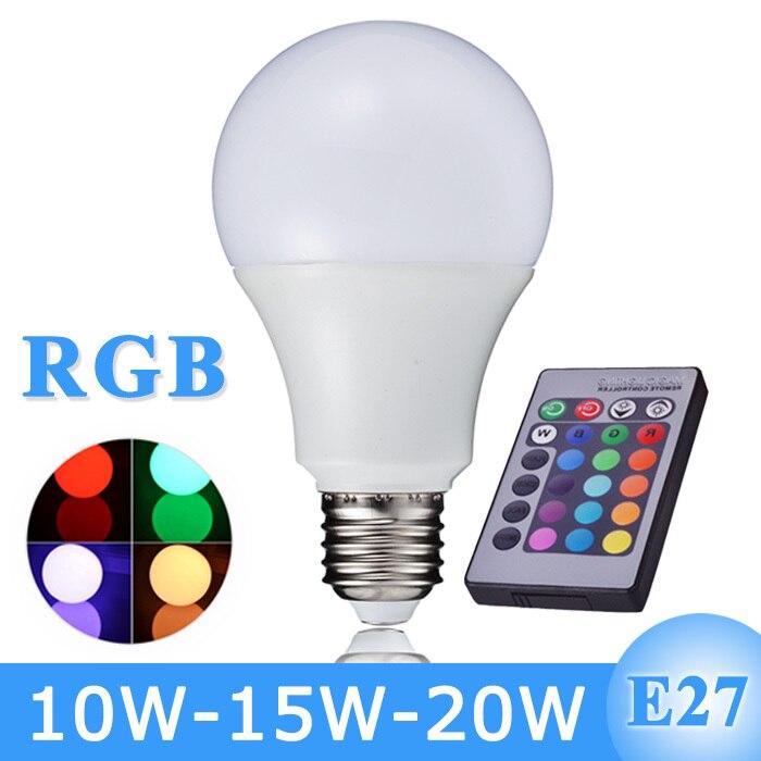 New Arrival Rgb Led Bulb Light E27 110v 220v Led Rgb Lamp 10w 15w 20w With Remote Control Lampara A65 A70 A80 kopen