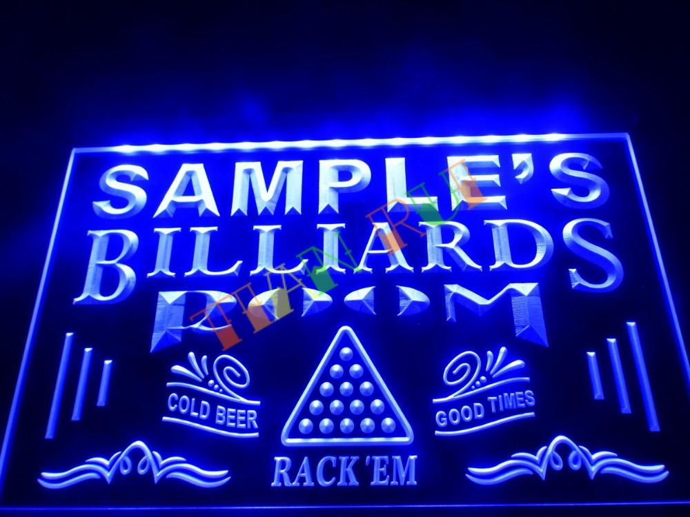 Dz011 Name Personalized Custom Billiards Pool Bar Room Neon Sign Hang Sign Home Decor Shop Crafts