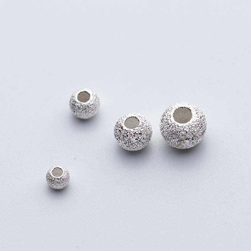 10pcs/lot 925 Sterling Silver Matte Round Beads 3mm 4mm 5mm 6mm Hand Made Big Hole Spacer Beads DIY Jewelry Making Accessories