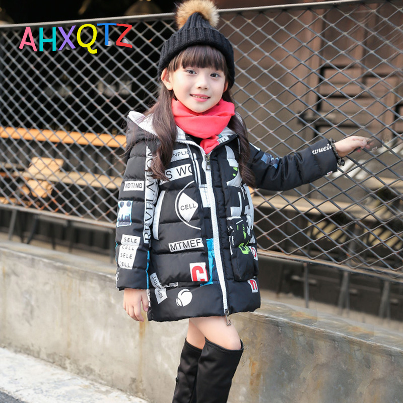 Sıcak Satış Graffiti Stil Kızlar Için Çocuk Kış Aşağı Ceketler Için Kış Giysileri Uzun