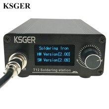 KSGER T12 stacja lutownicza wskazówek STM32 V2.01 OLED zestawy DIY FX9501 uchwyt elektronarzędzia końcówki do spawania regulator temperatury