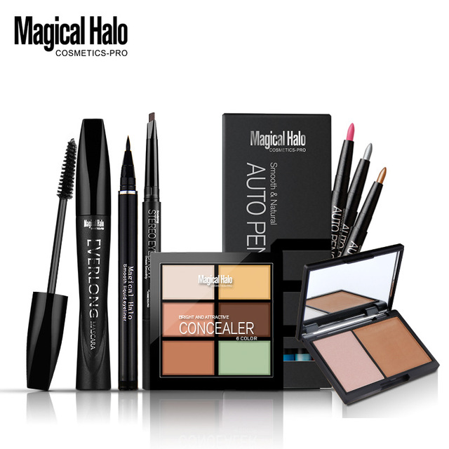 Make Up set water solute eyeliner + eyebrow pencil + mascara + eye shadow liner +double color stereo bronzing powder + concealer
