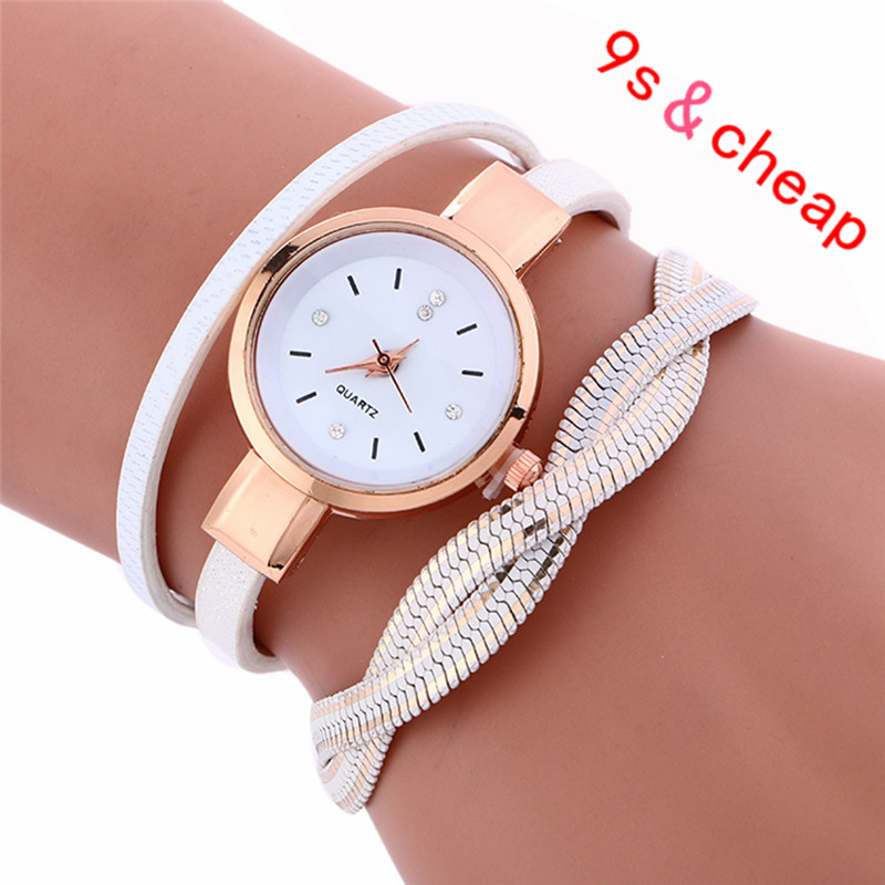 Wrap Weaving Around Fashion Bracelet Lady Womans Wrist Watch Brand New High Quality Luxury Free Shipping #110717