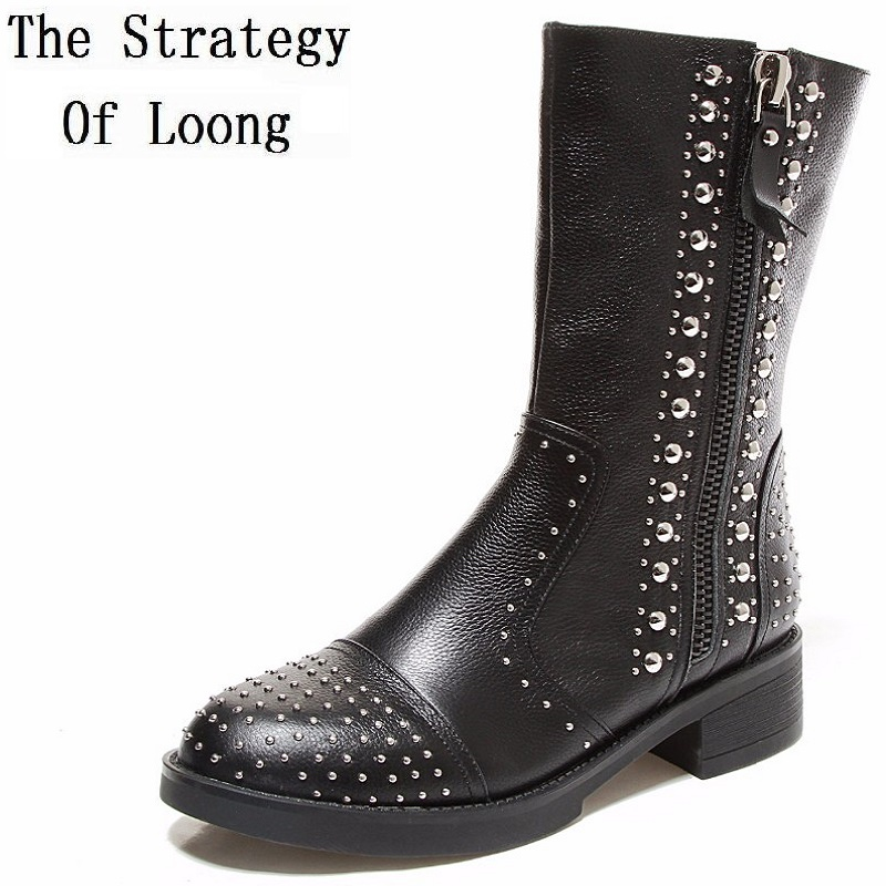Genuine Leather Women Boots 2017 New Street Fashion Personality Rivet Short Martin Boots Spring Autumn Winter Thick Heels Boots zhen zhou 2017 spring and autumn women s new fashion trend leadership the increased martin boots exemption from postage