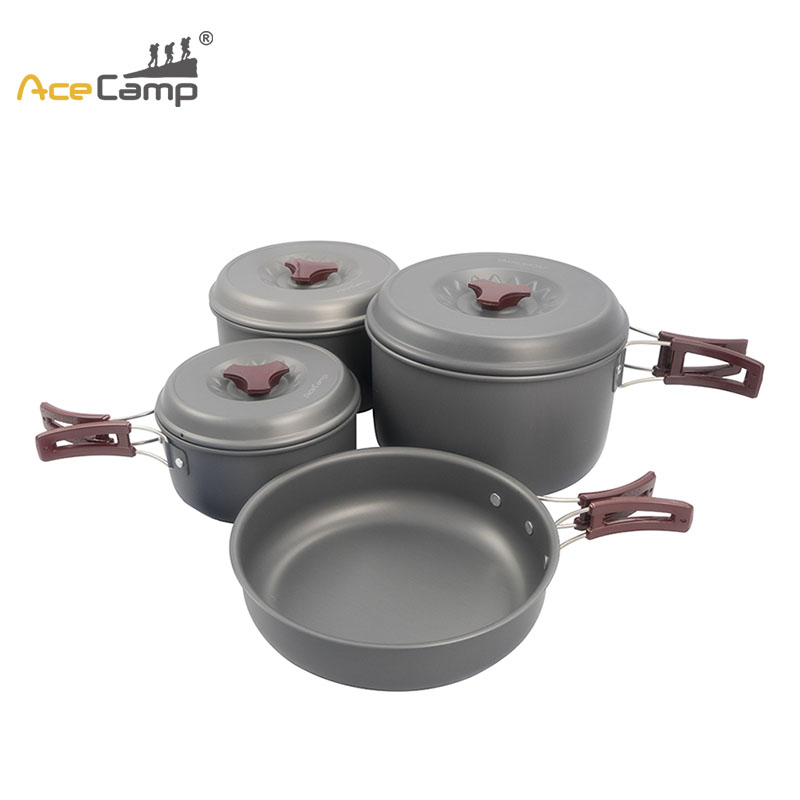 AceCamp 1 pièces Set de cuisine Kit ustensiles de cuisine randonnée vaisselle extérieur randonnée voyage ustensiles de cuisine avec sac en filet trois tailles (pas de couverts)