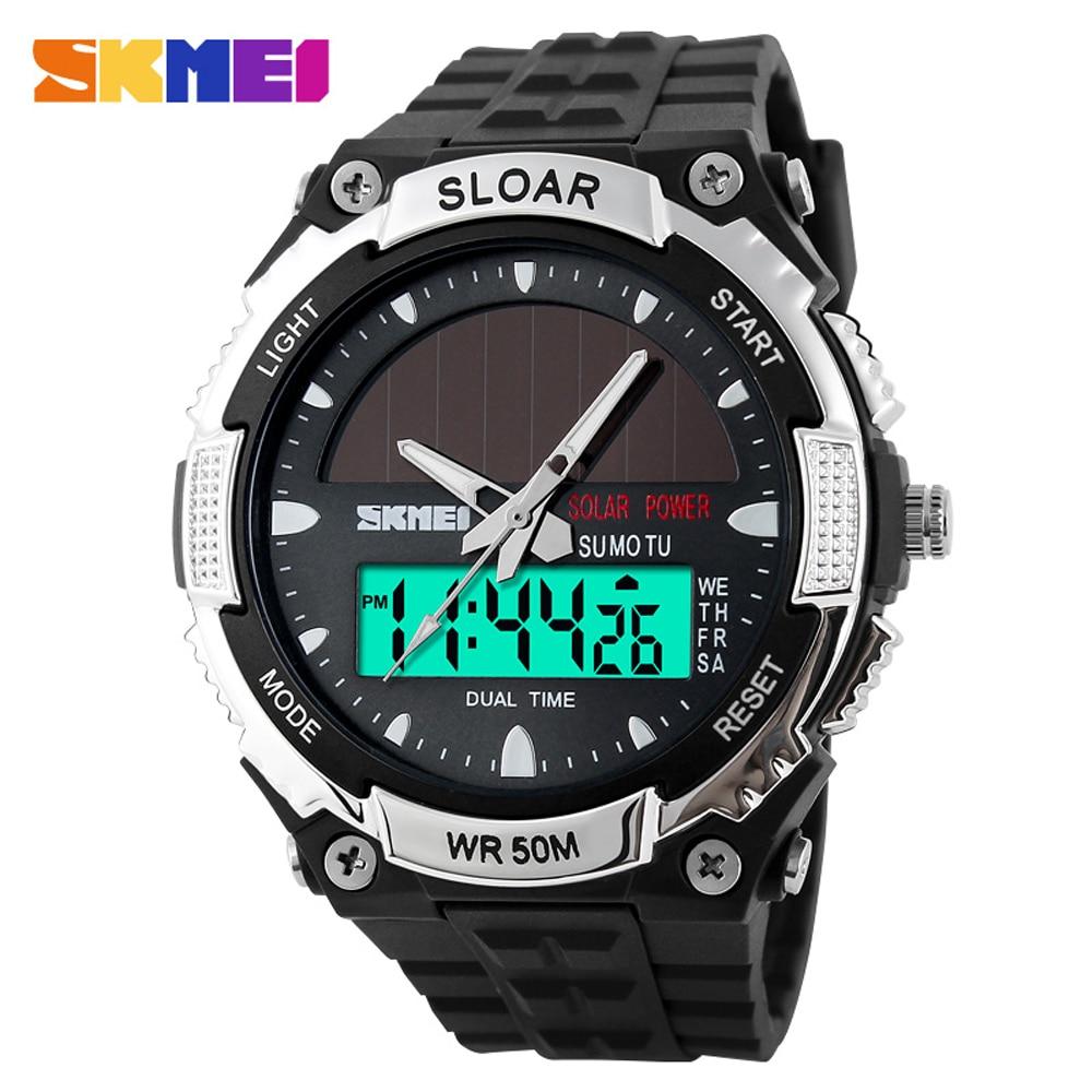 New Energy Solar Watch Men Digital Sports Led Men Watches Solar Dual Display Watches Men Watch Sports Military Wriswatch Relojes Digital Watches