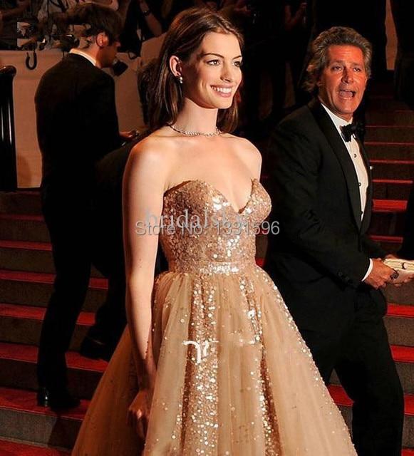 Anne hathaway berühmtheits roter teppich sexy kleider mit pailletten ...