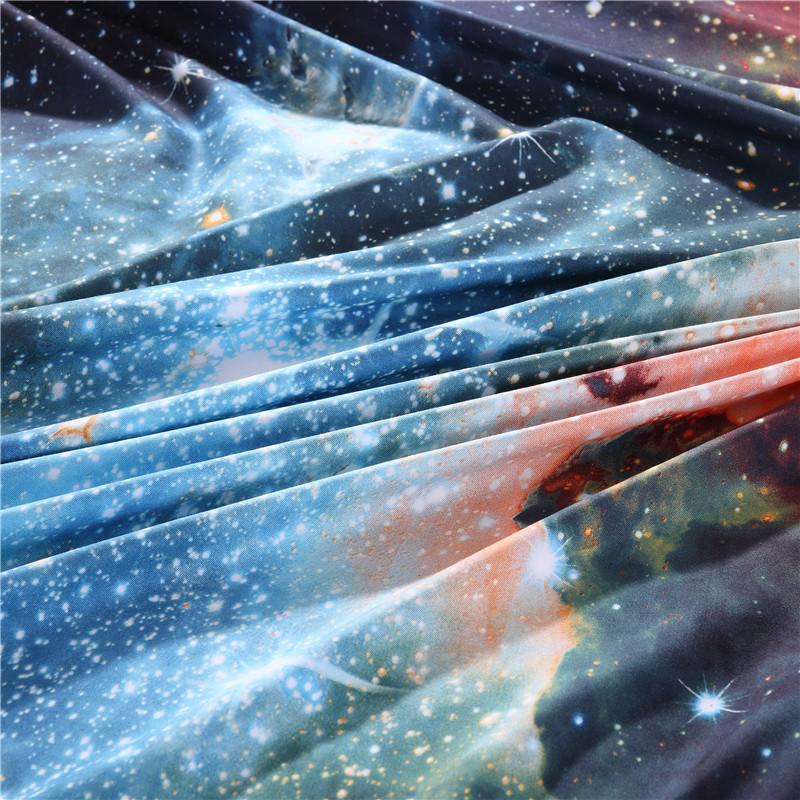 iDouillet 3D Nebala Outer Space Star Galaxy Bedding Set 2/3/4 pcs Duvet Cover Flat Sheet Pillowcase Queen Twin Size 18