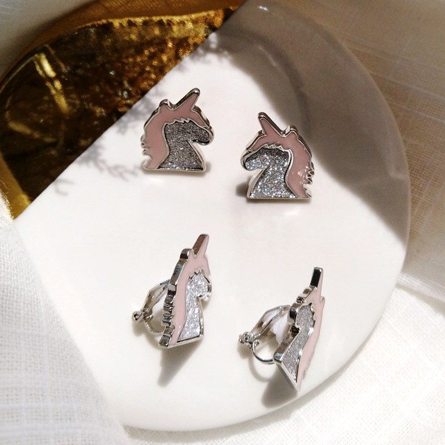 536287d58 Korean Style Pink Silver Crystal Unicorn Earrings Unique Charming Jewelry  Cute/Romantic Animal Small Earrings For Women Gift