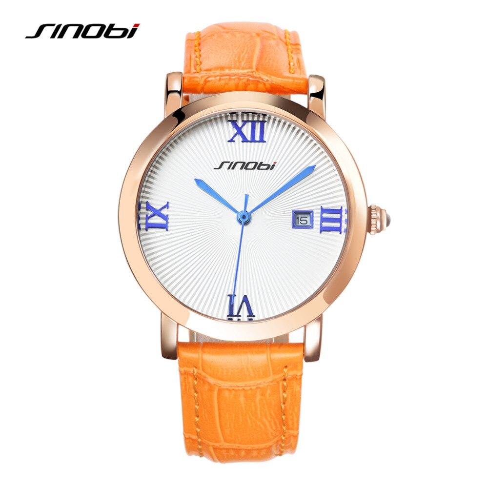 SINOBI Elegant Women Watches Fashion Blue Leather Analog Big Roman Numerals Watch Lady Girl Geneva Date Quartz Clock Reloj Mujer