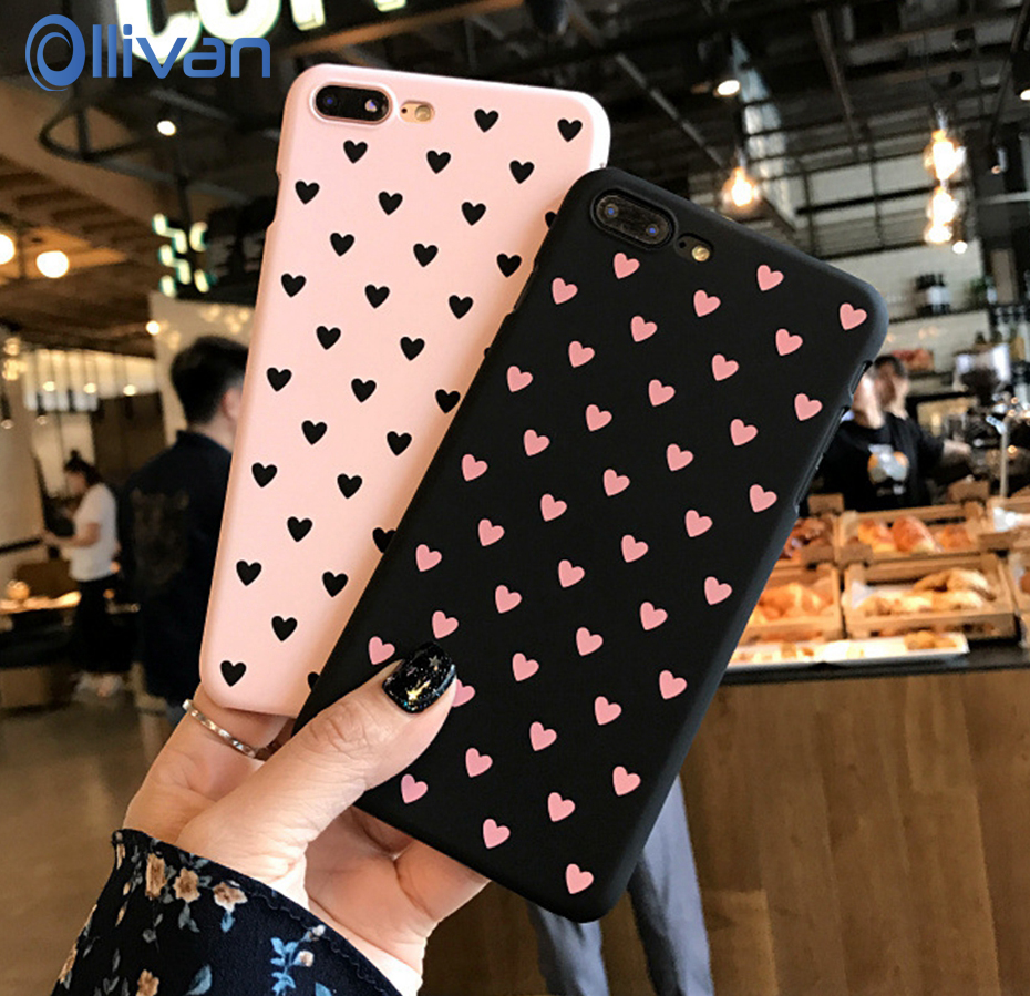 For iPhone 6 6s Plus Case Cute Cartoon Love Heart Phone Case For iPhone Xs Max Xr 7 8 Plus 5 5S SE Pink Hard Coque Fundas Cover