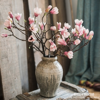 Wholesale PE long stem 8 heads artificial Magnolia flower fake magnolias wedding decorative flowers 12pcs/lot