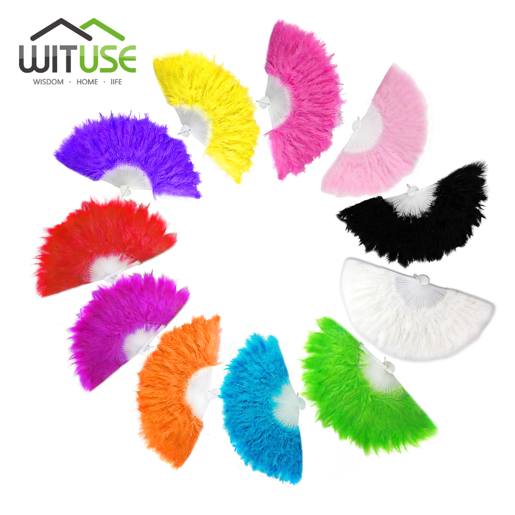 Wholesal Vintage Feather Hand Fan Lady Wedding Decoration Showgirl Dance Fan Large Feather Folding Fan Home Decor 11 Colors