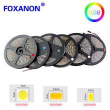 Foxanon 5M - 30M RGB led strip light 5050 5630 2835 led 12V led ribbon diode tape for ceiling cabinet christmas holiday decor(China)