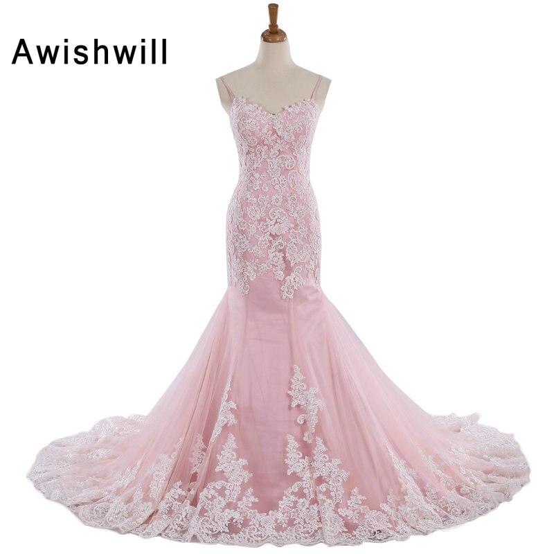Fantastyczny Tiul Sweetheart Dekolt Spaghetti Pasy Mermaid Wedding Dress w Różowe aplikacje bez rękawów Koronkowa księżniczka suknia panny młodej