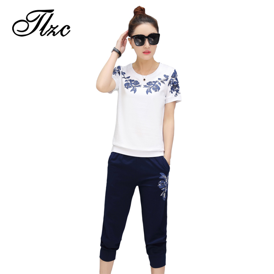 TLZC Summer Floral Printed Women Clothing Sets 2 Pieces Plus Size M-4XL Sweet Lady Casual Home Wear Tees + Pants