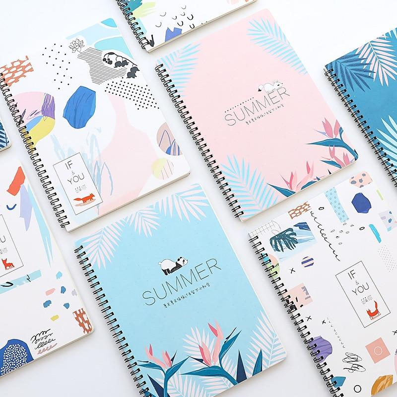 4Pcs B5 Cute Cartoon Coil/Spiral Notebooks Lined Paper Notebook Paper Journals Supplies Stationery Office School Supplies