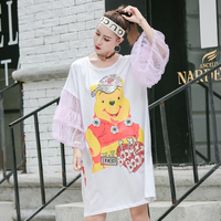 Robe femme ete 2018 new women dress cartoon bear sequin mesh trumpet sleeves T shirt female long loose dress tide