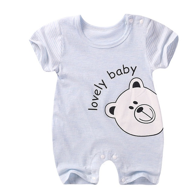 864ad752d Baby One-Pieces summer boy and girl Short Rompers Short sleeve color 100%  cotton romper newborn o-neck Baby Clothing