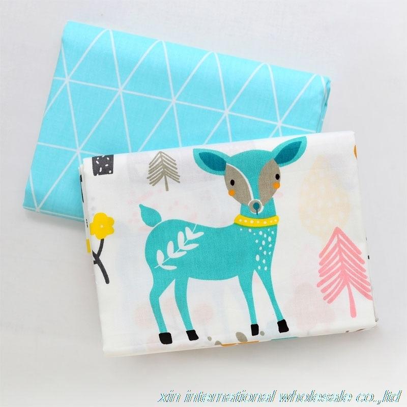 Twill of pure cotton baby ankara fabric Children bed sack tissu Cartoon baby bed sheet fabric Jungle deer tecido