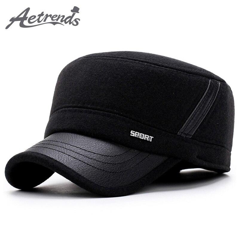 AETRENDS 2017 Nuevo invierno sombreros para hombres gorra militar con oído  aletas ejército marinero capitán gorras sombrero de papá z-5900 7ebe701b4e5