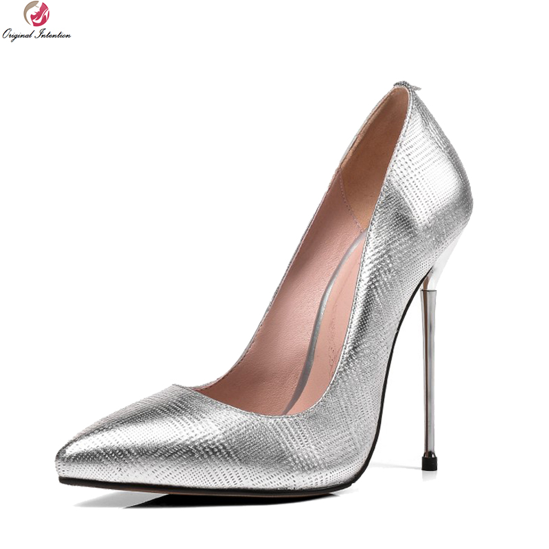 Original Intention High-quality Women Pumps Genuine Leather Pointed Toe Thin High Heels Pumps Silver Shoes Woman Plus Size 3-13 bowknot pointed toe women pumps flock leather woman thin high heels wedding shoes 2017 new fashion shoes plus size 41 42