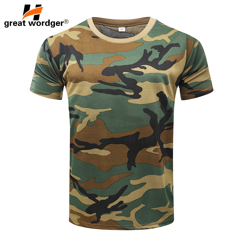 Outdoor Tactical Military Camouflage T-shirt Men Breathable US Army Combat T Shirt Quick Dry  Camo Outwear Camp Tees
