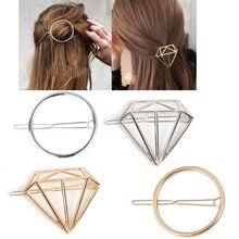 Модные из сплава со стразами, геометрической формы, аксессуары для волос, заколка для волос, заколка для волос, заколки для волос для женщин и девушек, простой стиль