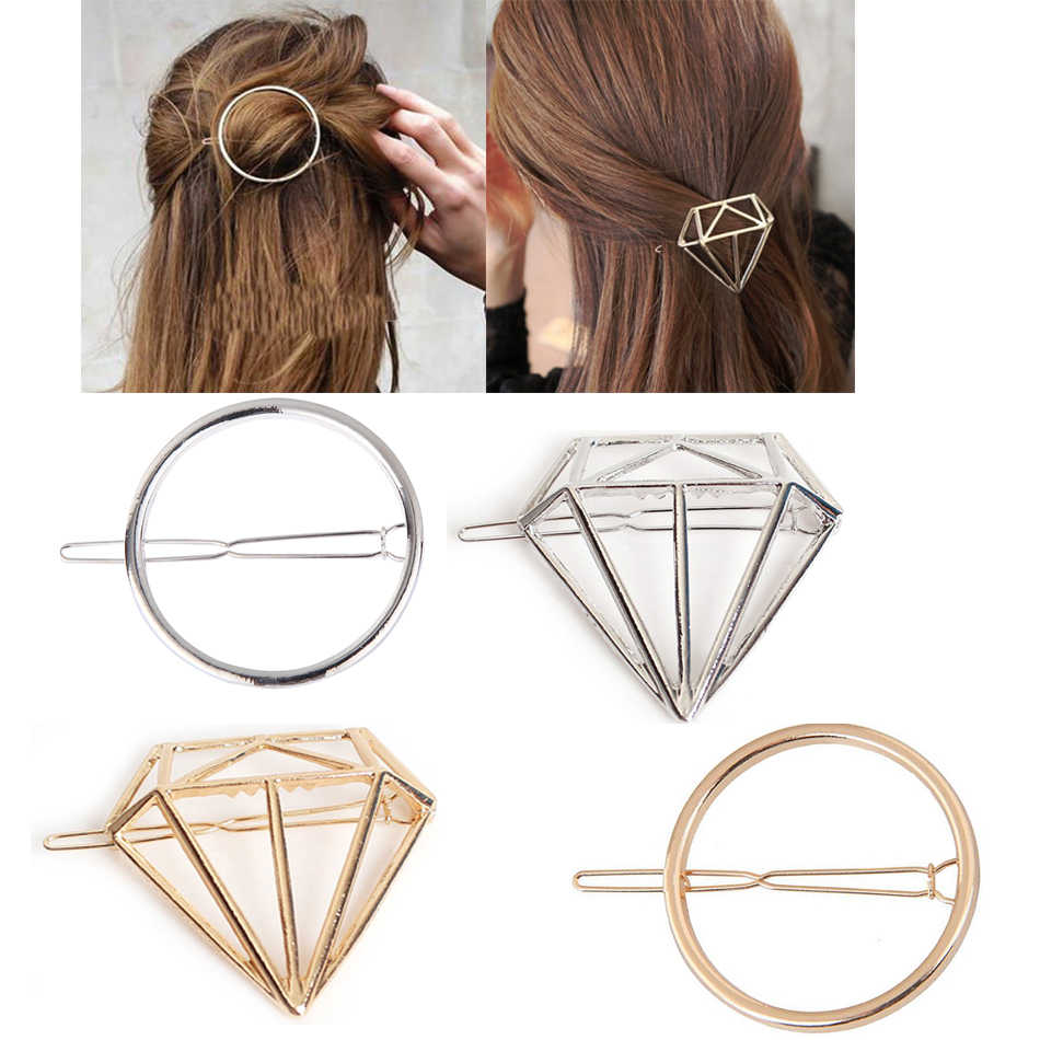 Fashion Alloy Diamond Geometric Circle Shape Hair Accessories Hairpin Word Clip Headwear Barrettes for Women Girls Simple Style