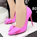 New fashion high heel shoes asakuchi pointed toe flock women pumps bow sweet wedding shoes B305-2