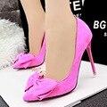 Nueva moda zapatos de tacón alto asakuchi punta estrecha flock mujeres bombas arco zapatos dulces de la boda B305-2