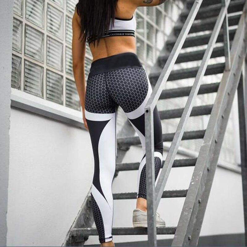 Women Yoga Pants Hight Waist Honeycomb Printed Push Up Running Fitness Gym Sport Leggings Tight Trouser Pencil Leggings