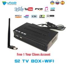 Vmade 1 Year Europe C-line Server HD DVB-S2 M5 lnb Satellite Receiver Full 1080P Spain Portugal Arabic TV box With USB Wifi Rece