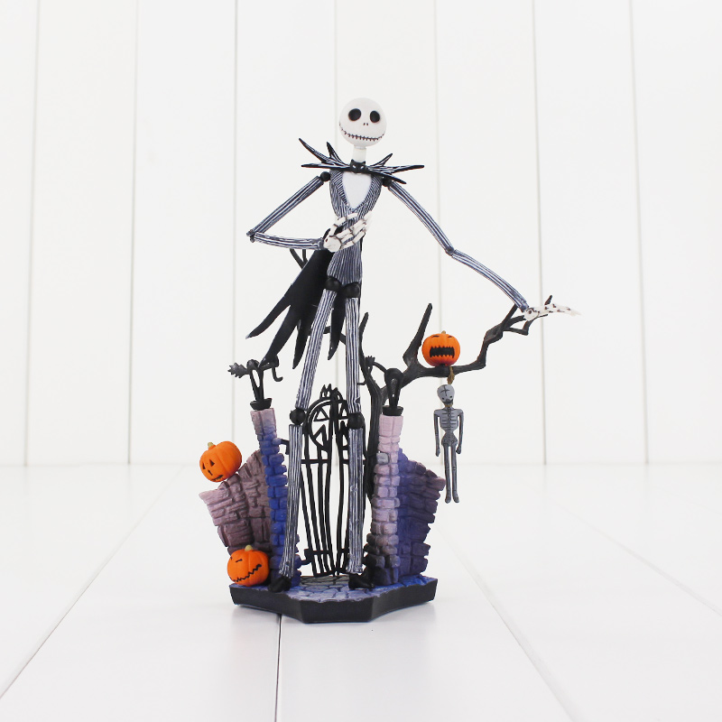 цена на 18cm SCI-FI REVOLTECH Jack 005 Action Figure Jack Skellington With Pumpkin The Nightmare Before Christmas Model Doll