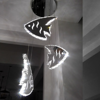 New stainless steel K9 crystal goldfish led pendant lamp modern minimalist dining room lamp bedroom lamp