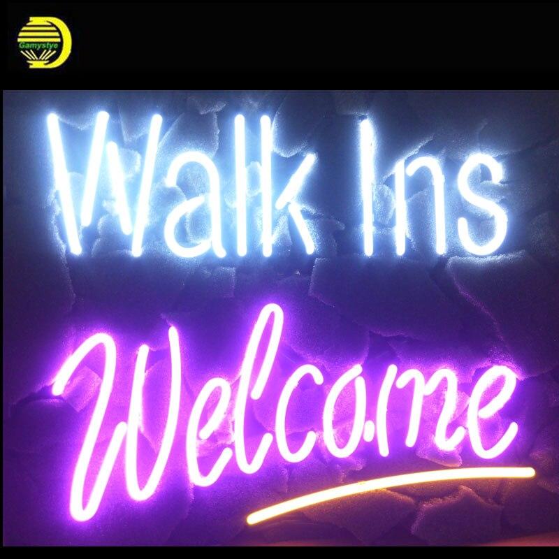 Enseignes au néon pour les marcheurs bienvenue néon signe artisanal arcade néon ampoule lampes Commercial décorer maison chambre livraison directe