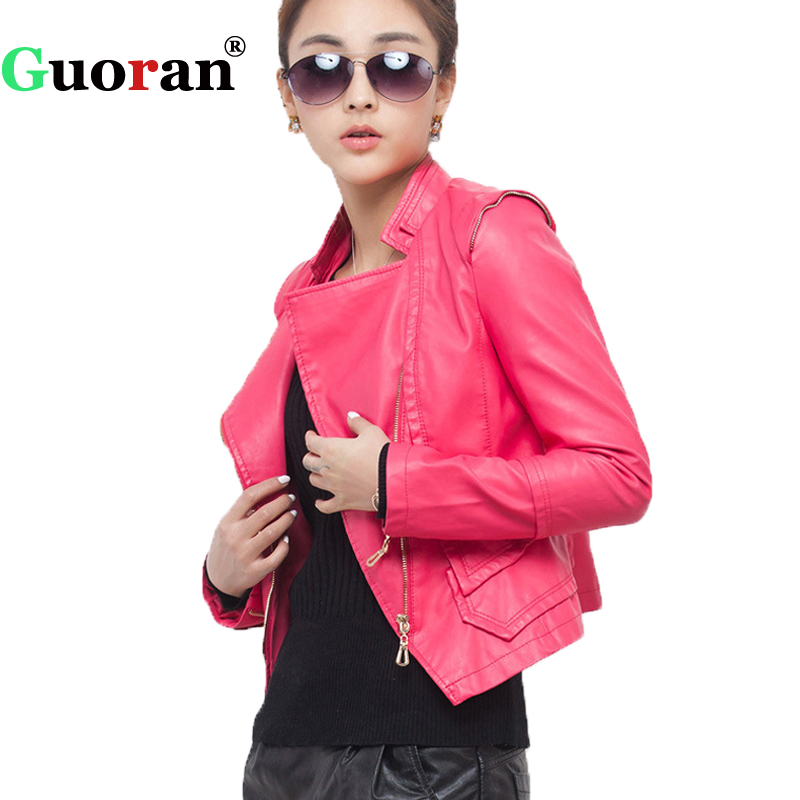 {Guoran} Women Motorcycle Leather Jackets Short Slim PU Coat Femme punk zipper faux leather outwear S-3XL Black Rose Red Clothes